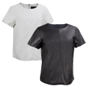 2-Pack: Black Rivet Faux-Leather Back Zip Shirts