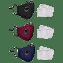 3-Pack: Cotton Reusable Washable Adjustable Face Masks w/ Valve & Filter Pocket