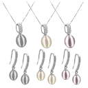 Pacific Pearls 18K White Gold Diamond Drop Earrings and Pendant Set