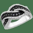Savvy Cie 0.25 TCW Black Diamond Ring