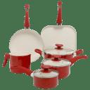 Oster Cocina San Jacinto Aluminum Nonstick Red Speckle 9-Piece Cookware Set