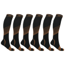 6-Pack: Extreme Fit Copper-Infused Ultra V-Striped Knee-High Compression Socks
