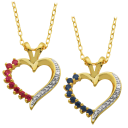 18K Gold-Plated Ruby or Sapphire Pendant with Diamond Accent