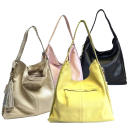 M London Genuine Leather Lace Up Hobo Bag