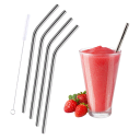 4-Pack: Stainless Steel Reusable Drinking Straws Bent or Straight