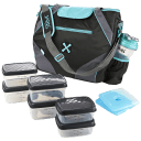 Fit & Fresh Jaxx FitPak Gym/Meal Prep Bag with 6-Pc Food Storage Set