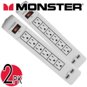 2-PACK Monster 6-Port Surge Protector Power Strip with 2 USB Ports