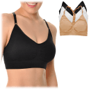 3-Pack: Angelina Seamless Racerback Sports Bra with Adjustable Straps