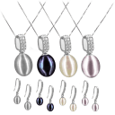 Pacific Pearls 18K Gold Diamond Drop Earrings and Pendant Set