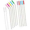 10-Pack: Eco-Friendly Silicone Tip Stainless Steel Straws