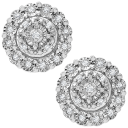 Diamond Muse Halo Cluster Stud Earrings 1/10 ct. t.w. in Sterling Silver