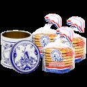 24-Count Finger Licking Dutch Caramel Stroopwafels with Blue Dutch Tin