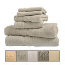 Bibb Home 6-Piece Egyptian Cotton Zero Twist Towel Sets