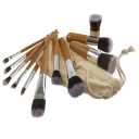 SwissTek 11-Piece Makeup Brush Set with Bamboo Handles