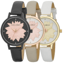 "Laura Ashley Round ""Flower"" Dial Strap Watch"